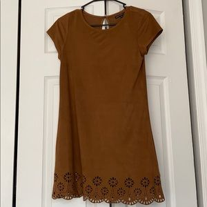 BROWN dress faux suede